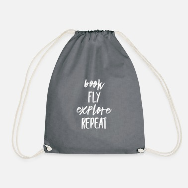 Book Fly Explore Repeat Travel-Shirt - Turnbeutel