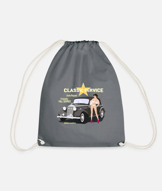 Car Bags & Backpacks - Cars and Pinup, Classic Service - Drawstring Bag grey