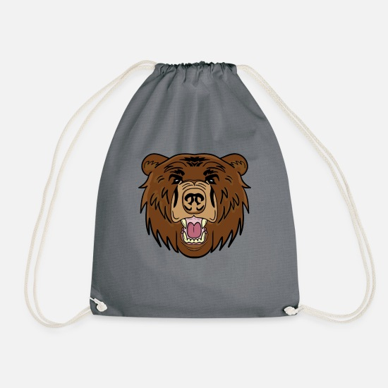 Teddy Bear Bags & Backpacks - brown bear - Drawstring Bag grey