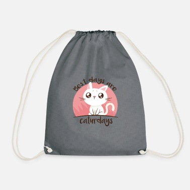 Best days are Caturdays - gift for cats fans - Drawstring Bag