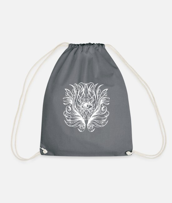 Hardstyle Bags & Backpacks - Psytrance Hippie Occult All Sighting Eye Holy - Drawstring Bag grey