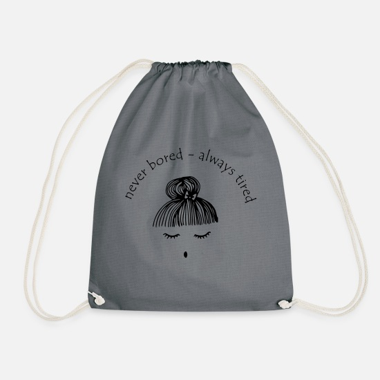 Sleep Bags & Backpacks - tired - Drawstring Bag grey