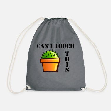 cactus in CAN NOT TOUCH THIS cactus pot - Drawstring Bag