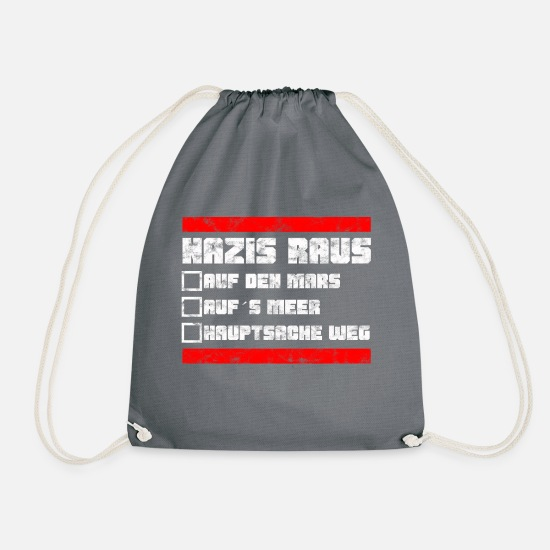 Birthday Bags & Backpacks - Nazis out - against fascism against right - Drawstring Bag grey