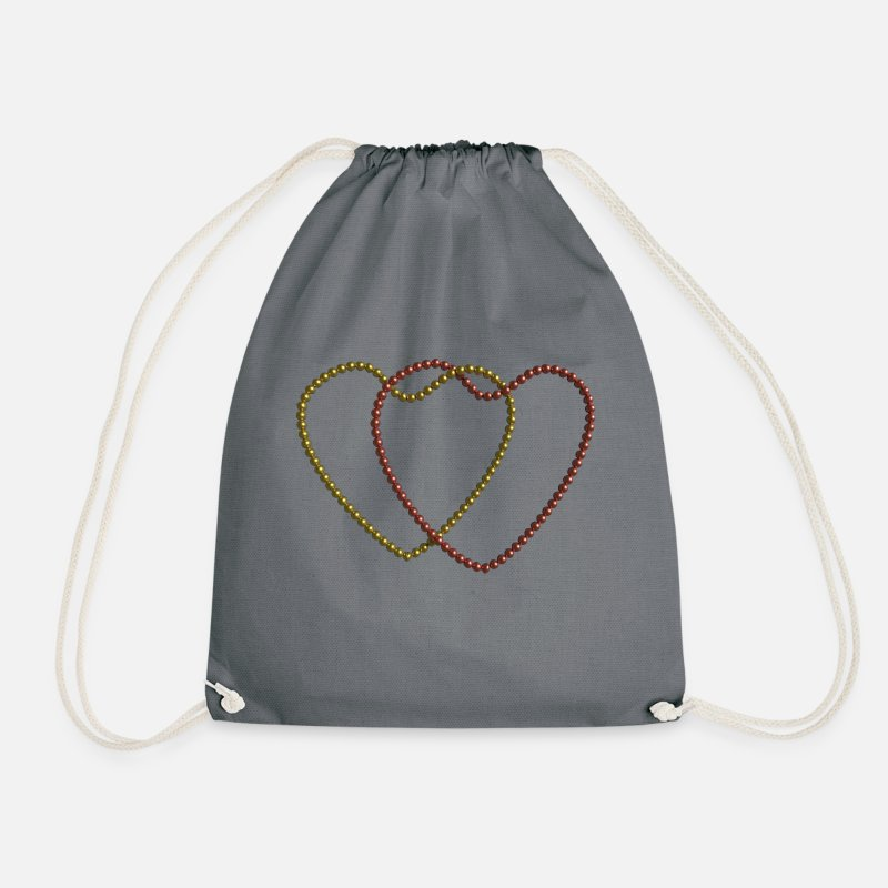 Love Bags   Backpacks - Two linked hearts of pearl necklaces - Drawstring  Bag gray