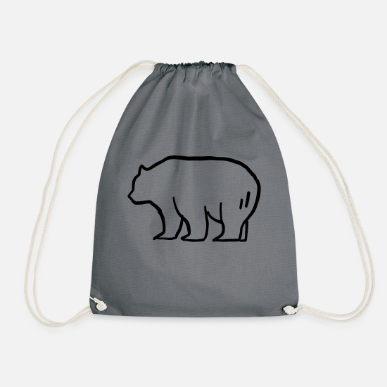 Forest Animal Bags & Backpacks - Brown Bear - Grizzly - Drawstring Bag grey