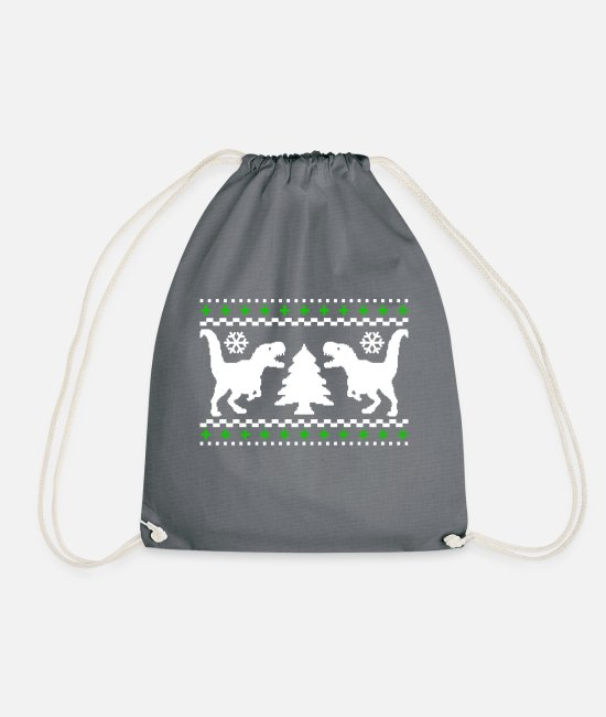 Dinosaurs Bags & Backpacks - T-Rex Dinosaur Christmas Design - Drawstring Bag grey