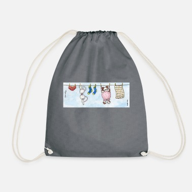 Long Underwear Mug - Cute Fluffy Dog 'Barnaby' on a Washing Line - Drawstring Bag