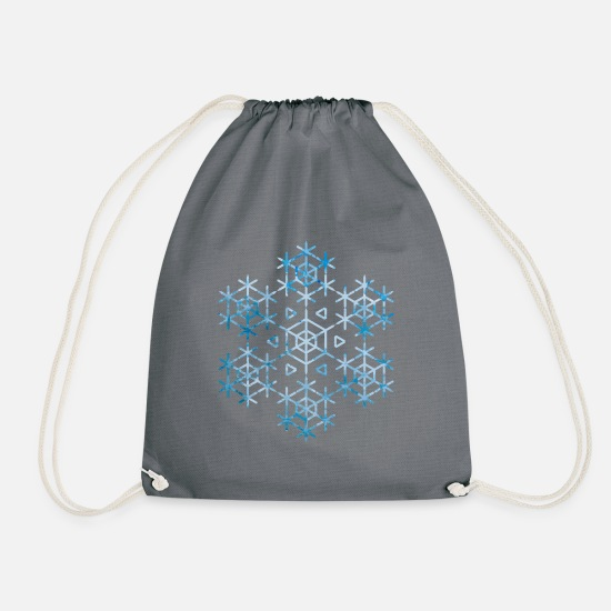 White Bags & Backpacks - snowflake - Drawstring Bag gray