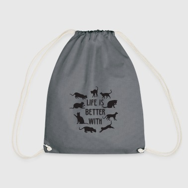 Life Is Better With Cats Katzen Geschenk - Turnbeutel