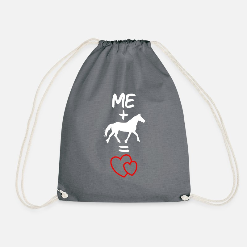 Horse Bags & Backpacks - Horse horses horse girl horse motif rider - Drawstring Bag gray