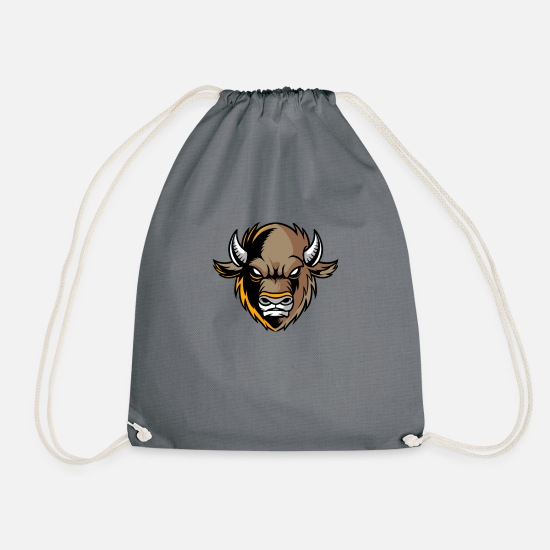 Native American Bags & Backpacks - Buffalo Team Mascot - Drawstring Bag gray