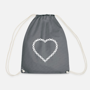 Bicycle chain heart - Drawstring Bag