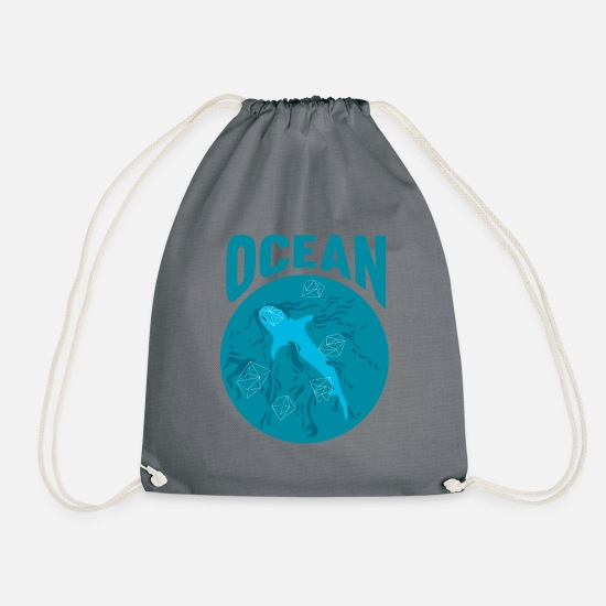 Ocean Bags & Backpacks - Ocean sea shark shark ocean ocean sea - Drawstring Bag gray