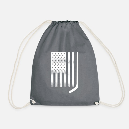 College Bags & Backpacks - USA Flag White Hockey Stick - Drawstring Bag gray