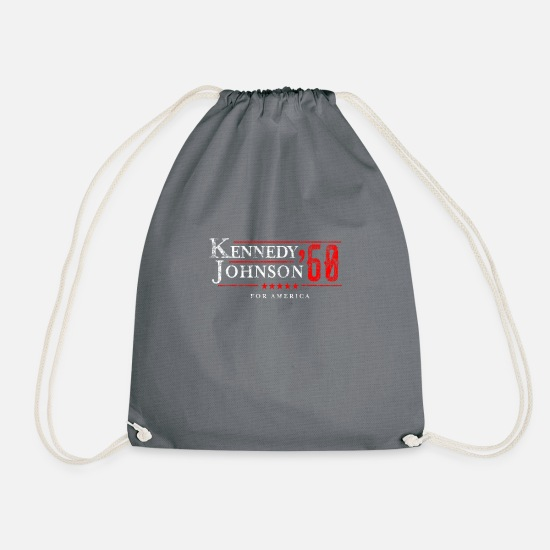 Kennedy Bags & Backpacks - John F Kennedy Johnson Campaign product JFK - Drawstring Bag grey