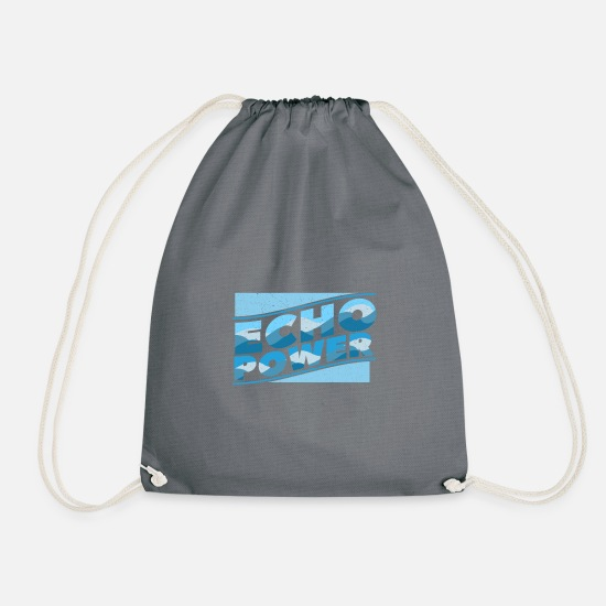 Shark Bags & Backpacks - Echo power dolphin water fish - Drawstring Bag grey