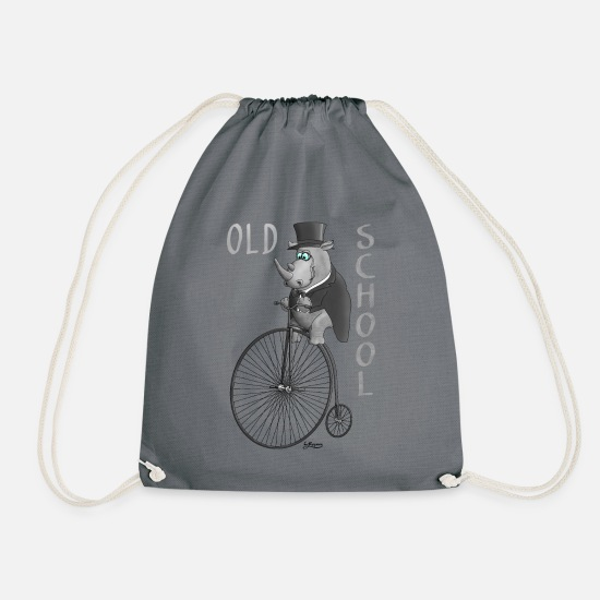 Gift Idea Bags & Backpacks - Old school bicycle - cylinder - tails - monocle - Drawstring Bag gray