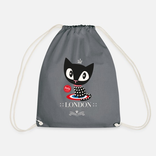 Mother's Day Bags & Backpacks - Pussy Deluxe Dotted Black Cat  - Drawstring Bag gray