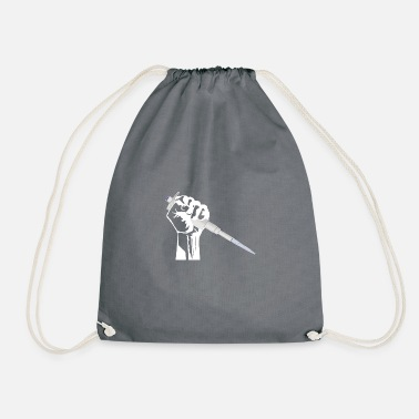 Worker fist with pipette - nerd science w - Drawstring Bag