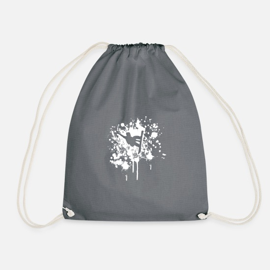 Gift Idea Bags & Backpacks - Snowboarder gift winter vacation piste - Drawstring Bag grey
