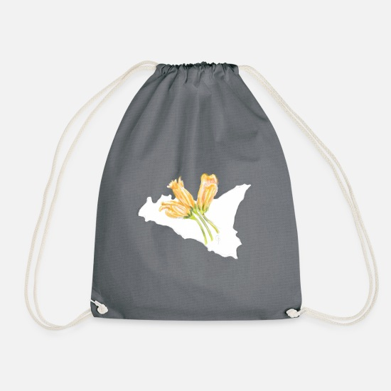 Florist Bags & Backpacks - Zucchini flowers Sicily - Drawstring Bag grey