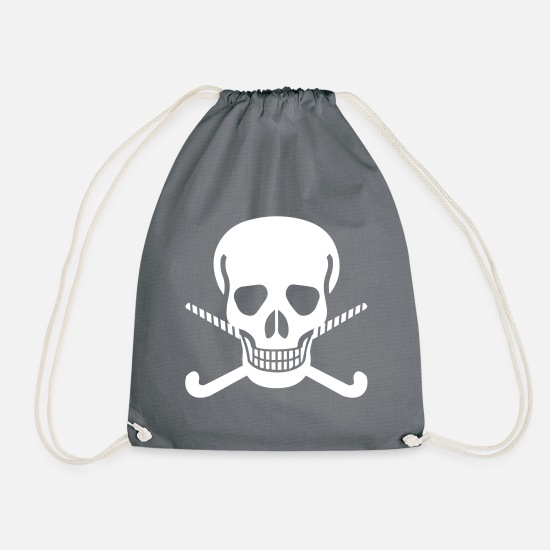 Indoor Hockey Bags & Backpacks - Skull hockey stick bright design - Drawstring Bag gray