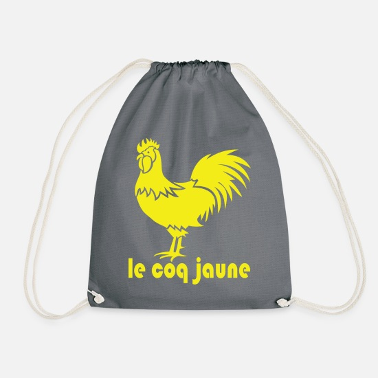 Protests Bags & Backpacks - le coq jaune. Gilet jaune protests - Drawstring Bag grey