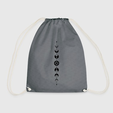 Totem with moon phases and stars. Black. - Drawstring Bag