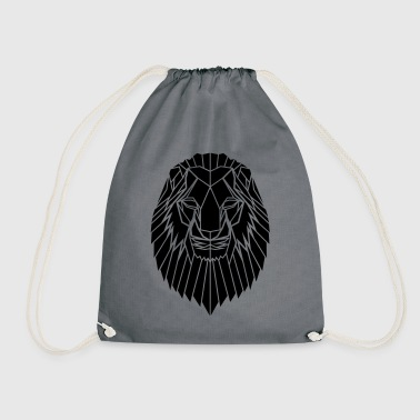 Edgy Geometric safari Lion Print by Stencilize - Drawstring Bag