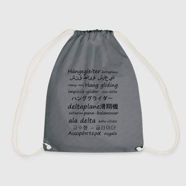Hang gliding in several languages - Drawstring Bag