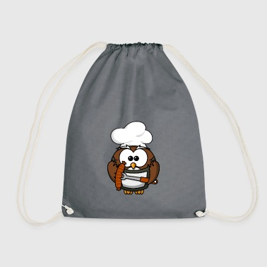 Owl on grill with food comic style - Drawstring Bag