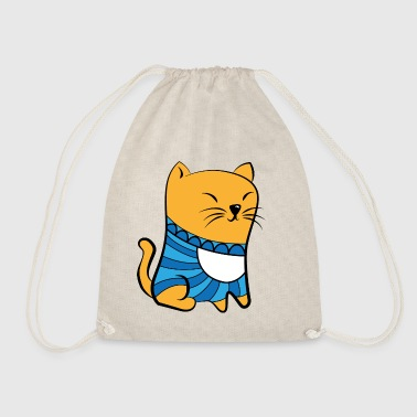 Cat with Pullover - Drawstring Bag