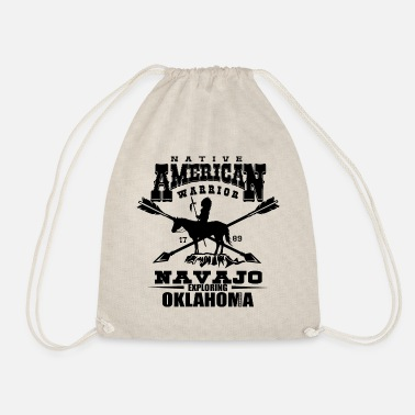 Navajo indian warrior navajo native american - Drawstring Bag