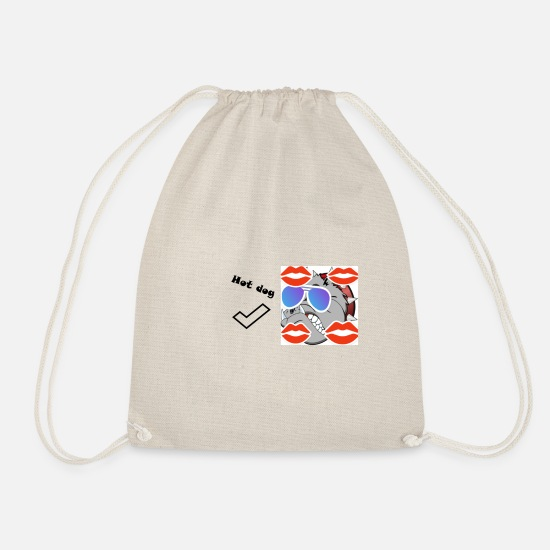 Dog Head Bags & Backpacks - hot dog - Drawstring Bag nature