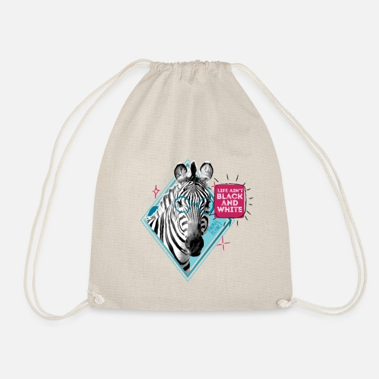 Officialbrands Bags & Backpacks - Animal Planet Zebra Black And White Quote - Drawstring Bag nature