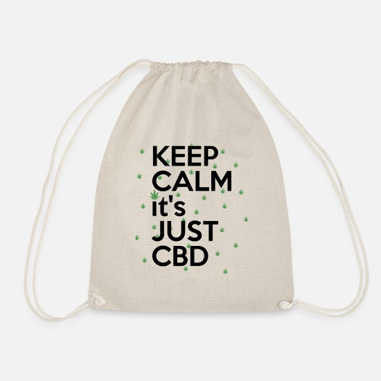 Hemp Bags & Backpacks - KEEP CALM it's JUST CDB T-Shirt CBD Cannabis - Drawstring Bag nature