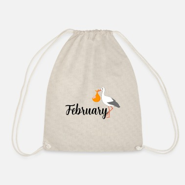 Stork Pregnant stork baby arrives in February - Drawstring Bag