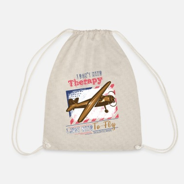 Flight Theraphy flying pilot saying - Drawstring Bag