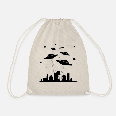 alien invasion - Drawstring Bag