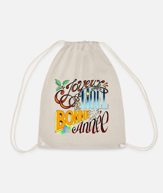 Happy New Year Bags & Backpacks - Merry Christmas and Happy New Year - Vintage Lettering - Drawstring Bag nature