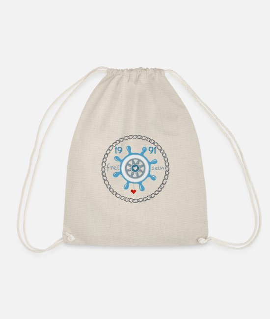 Coast Bags & Backpacks - Be free 1991 steering wheel rudder maritime sea - Drawstring Bag nature
