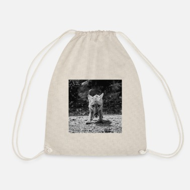 Fox Black White - Drawstring Bag