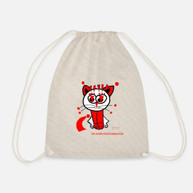 Punctuation Marks The exclamation mark cat loves punctuation marks - Drawstring Bag