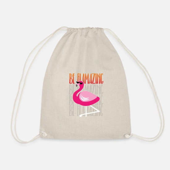 Pink Bags & Backpacks - flamingo, pink flamingos, be flamazing - Drawstring Bag nature