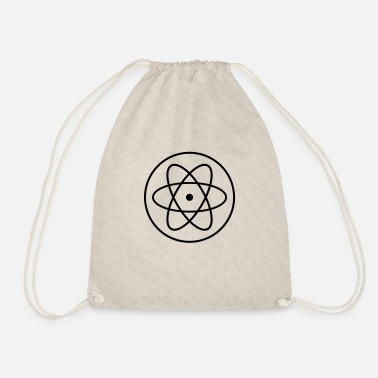Selfie atom symbol researcher science laboratory circle logo - Drawstring Bag