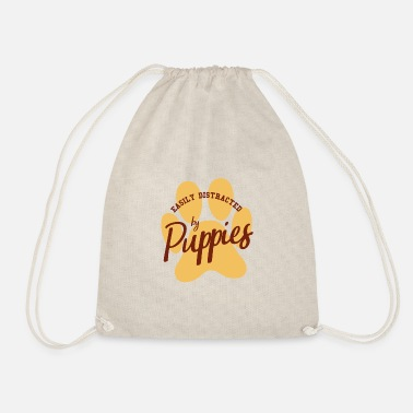 Male Puppy Dog Puppy Easily distracted by puppy puppies dog gift - Drawstring Bag