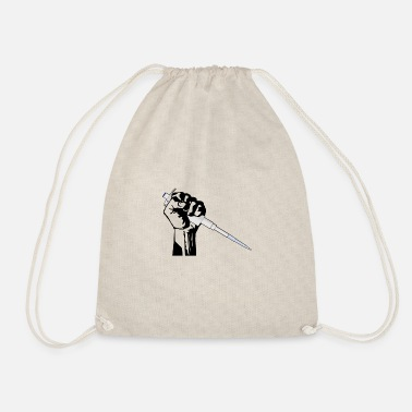 Worker fist with pipette - nerd science - Drawstring Bag