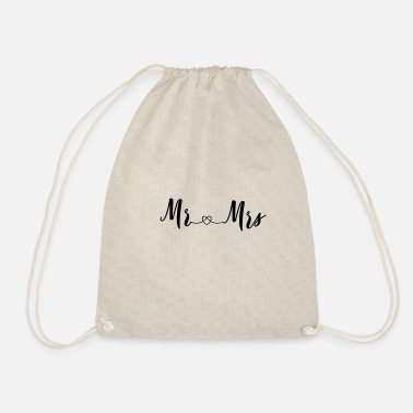 Mrs Mr Wifey mr_and_mrs_2_hearts - Drawstring Bag