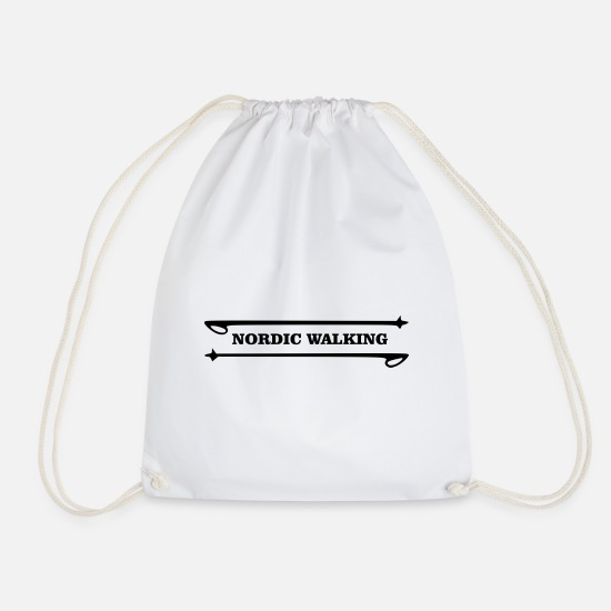 Love Bags & Backpacks - NORDIC WALKING with walking sticks - Drawstring Bag white